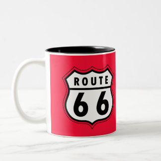 Scarlet Red Route 66 road sign Two-Tone Coffee Mug