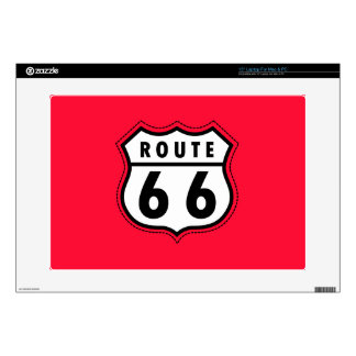 """Scarlet Red Route 66 road sign 15"""" Laptop Skin"""