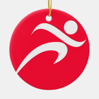 Scarlet Red Running Double-Sided Ceramic Round Christmas Ornament
