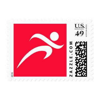 Scarlet Red Running Postage Stamp