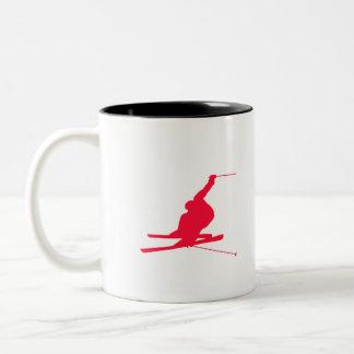 Scarlet Red Snow Ski Two-Tone Coffee Mug