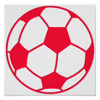 Scarlet Red Soccer Ball Poster