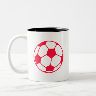 Scarlet Red Soccer Ball Two-Tone Coffee Mug