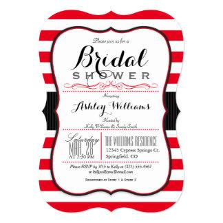 Scarlet Red Stripes; Elegant Bridal Shower Card