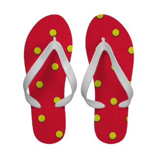 Scarlet Red Tennis Ball Pattern Sandals