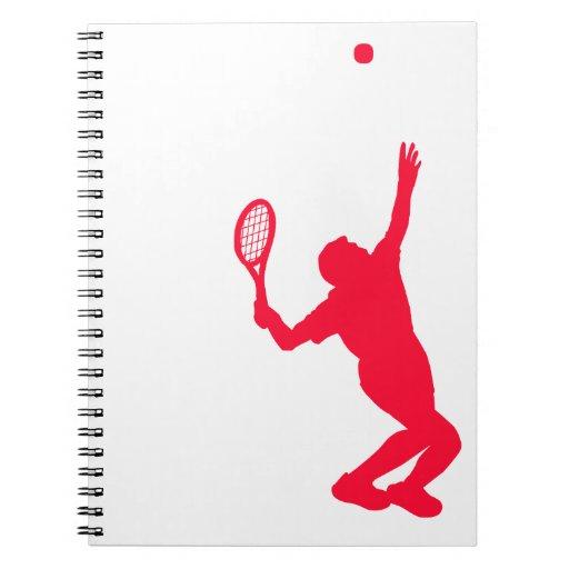 Scarlet Red Tennis Spiral Note Books