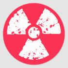 Scarlet Red Toxic radioactive symbol Classic Round Sticker