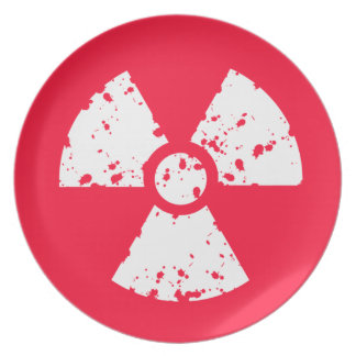 Scarlet Red Toxic radioactive symbol Party Plates