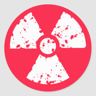 Scarlet Red Toxic radioactive symbol Round Sticker