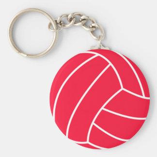Scarlet Red Volleyball Basic Round Button Keychain