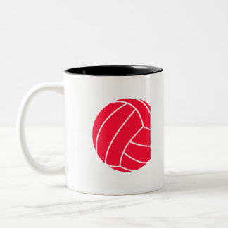 Scarlet Red Volleyball Two-Tone Coffee Mug