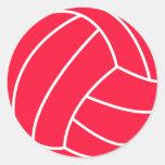 Scarlet Red Volleyball Round Sticker