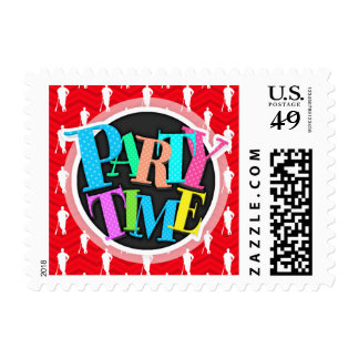 Scarlet Red, White, Chevron, Baseball Player Postage Stamps