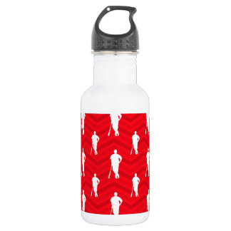 Scarlet Red, White, Chevron, Baseball Player Stainless Steel Water Bottle