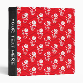 Scarlet Red, White, Chevron, Basketball Vinyl Binder