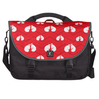 Scarlet Red, White, Chevron, Boxer, Boxing Gloves Laptop Computer Bag