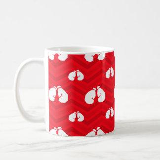 Scarlet Red, White, Chevron, Boxer, Boxing Gloves Mug