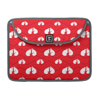 Scarlet Red, White, Chevron, Boxer, Boxing Gloves Sleeves For MacBook Pro
