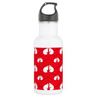 Scarlet Red, White, Chevron, Boxer, Boxing Gloves Water Bottle