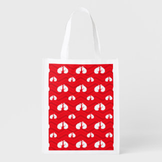 Scarlet Red, White, Chevron, Boxer, Boxing Gloves Reusable Grocery Bag