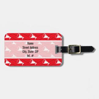 Scarlet Red, White, Chevron, Cheerleading Travel Bag Tag