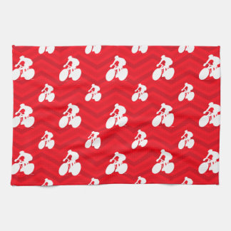 Scarlet Red, White, Chevron, Cyclist, Cycling Kitchen Towels