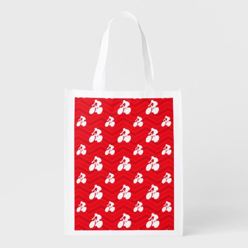 Scarlet Red, White, Chevron, Cyclist, Cycling Reusable Grocery Bag