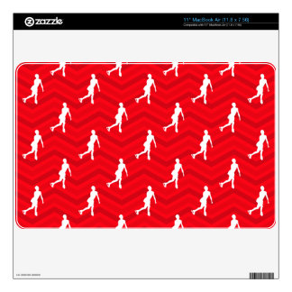 Scarlet Red, White, Chevron, Figure Skating MacBook Decal