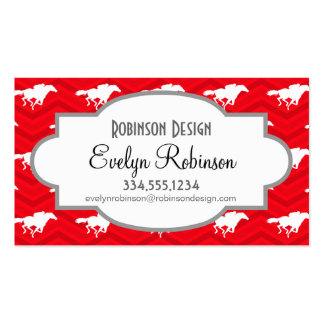 Scarlet Red, White, Chevron, Horse Racing Business Cards