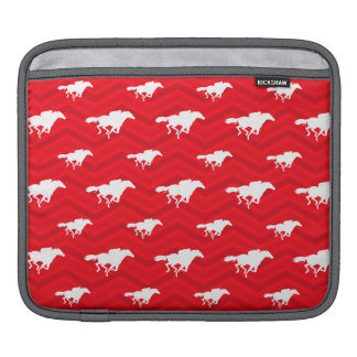 Scarlet Red, White, Chevron, Horse Racing iPad Sleeve