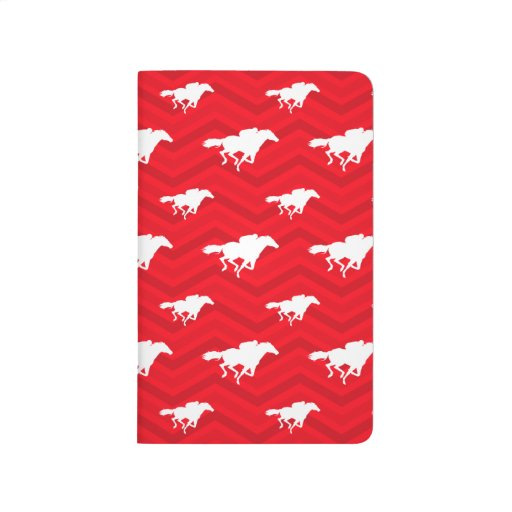 Scarlet Red, White, Chevron, Horse Racing Journal
