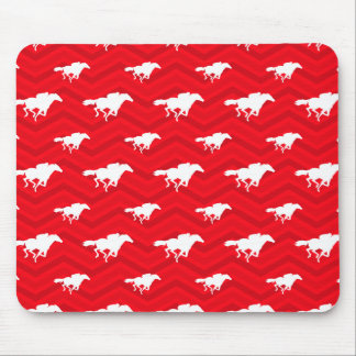 Scarlet Red, White, Chevron, Horse Racing Mousepads