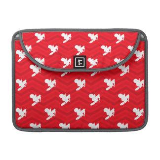 Scarlet Red, White, Chevron, Motocross, Dirt Bike MacBook Pro Sleeve