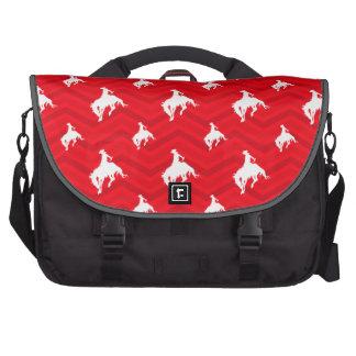 Scarlet Red, White, Chevron, Rodeo Cowboy Computer Bag