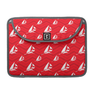 Scarlet Red, White, Chevron, Sailing, Sailboat Sleeve For MacBook Pro
