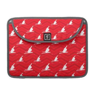 Scarlet Red, White, Chevron, Snow Ski MacBook Pro Sleeves