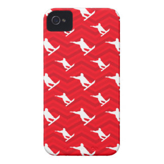 Scarlet Red, White, Chevron, Snowboarding iPhone 4 Case