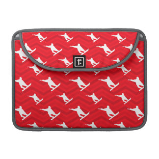Scarlet Red, White, Chevron, Snowboarding MacBook Pro Sleeves