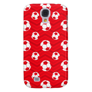 Scarlet Red, White, Chevron, Soccer Ball, Football Galaxy S4 Covers