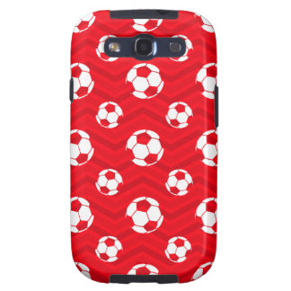 Scarlet Red, White, Chevron, Soccer Ball, Football Galaxy SIII Cases
