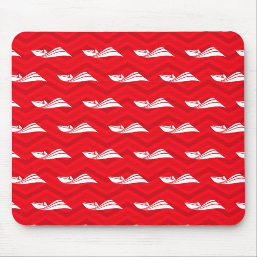 Scarlet Red, White, Chevron, Speed Boat Mousepads