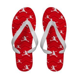 Scarlet Red, White, Chevron, Tennis Sandals