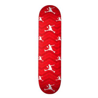 Scarlet Red, White, Chevron, Tennis Skate Board Deck