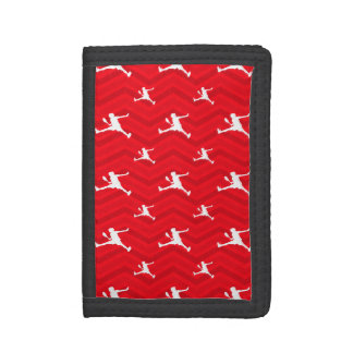 Scarlet Red, White, Chevron, Tennis Tri-fold Wallets