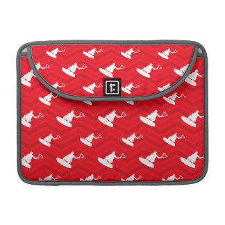 Scarlet Red, White, Chevron, Wakeboarding Sleeve For MacBooks