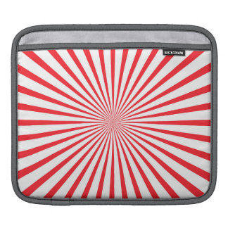 Scarlet Red & White Radiant Stripes Sleeve For iPads