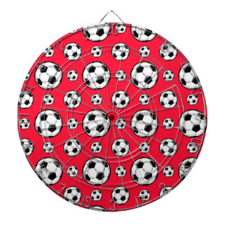 Scarlet Red & White Soccer Ball Pattern Dart Board
