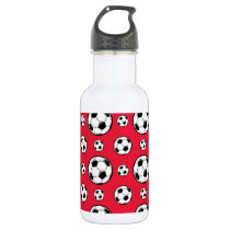 Scarlet Red & White Soccer Ball Pattern Stainless Steel Water Bottle