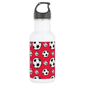 Scarlet Red & White Soccer Ball Pattern Stainless Steel Water Bottle