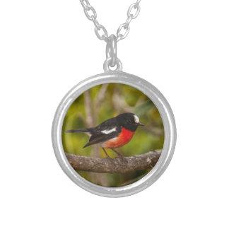 Scarlet Robin Round Pendant Necklace
